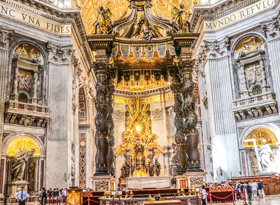 Inside the St Peters Church Rome at Vatican City Italy