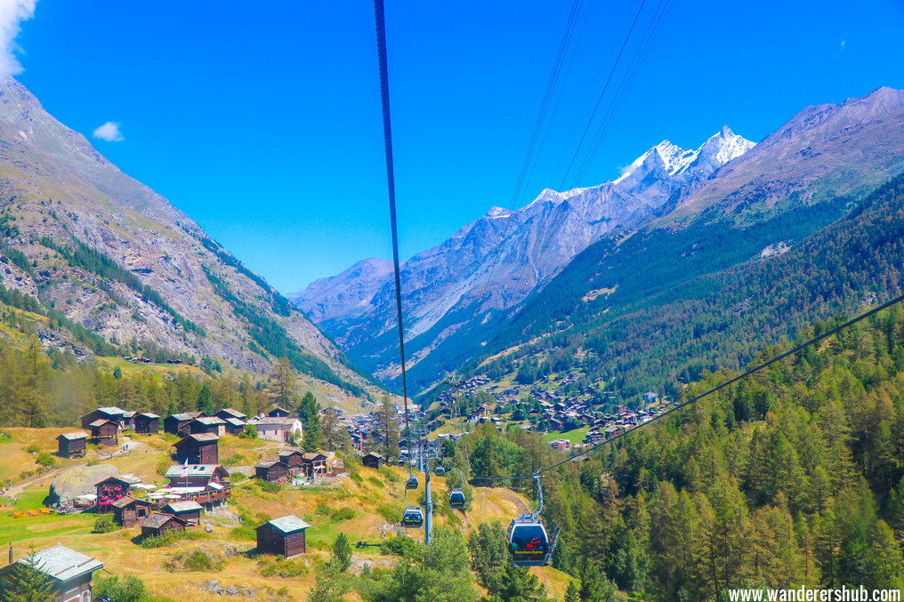 Cable car ride to the Matterhorn mountain