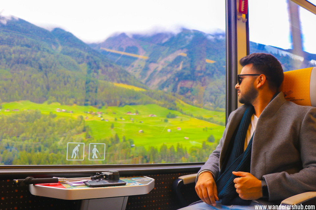 Scenic train ride Switzerland