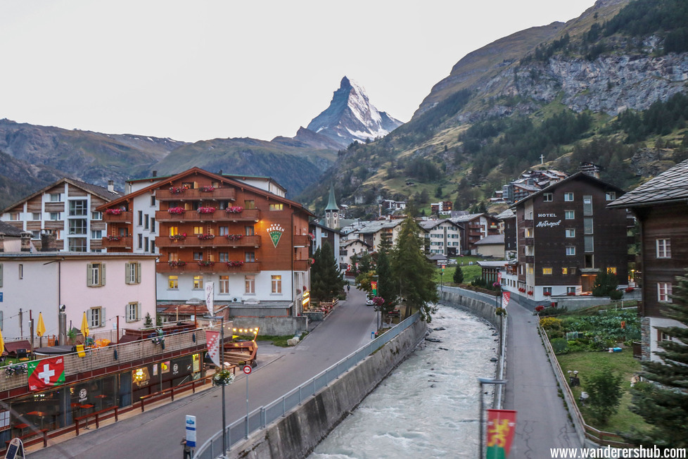 Zermatt town in night