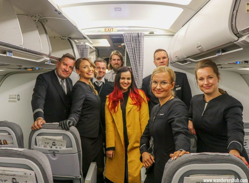 Finnair airline review with crew